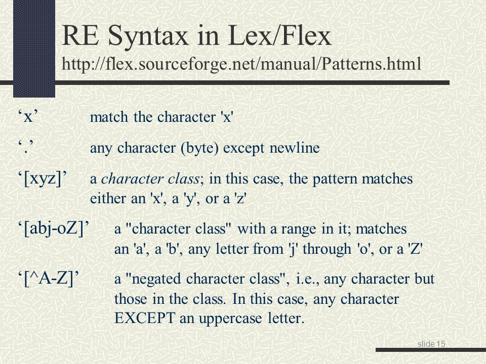 slide 15 RE Syntax in Lex/Flex http://flex.sourceforge.net/manual/Patterns.html 'x' match the character x '.' any character (byte) except newline '[xyz]' a character class; in this case, the pattern matches either an x , a y , or a z '[abj-oZ]' a character class with a range in it; matches an a , a b , any letter from j through o , or a Z '[^A-Z]' a negated character class , i.e., any character but those in the class.