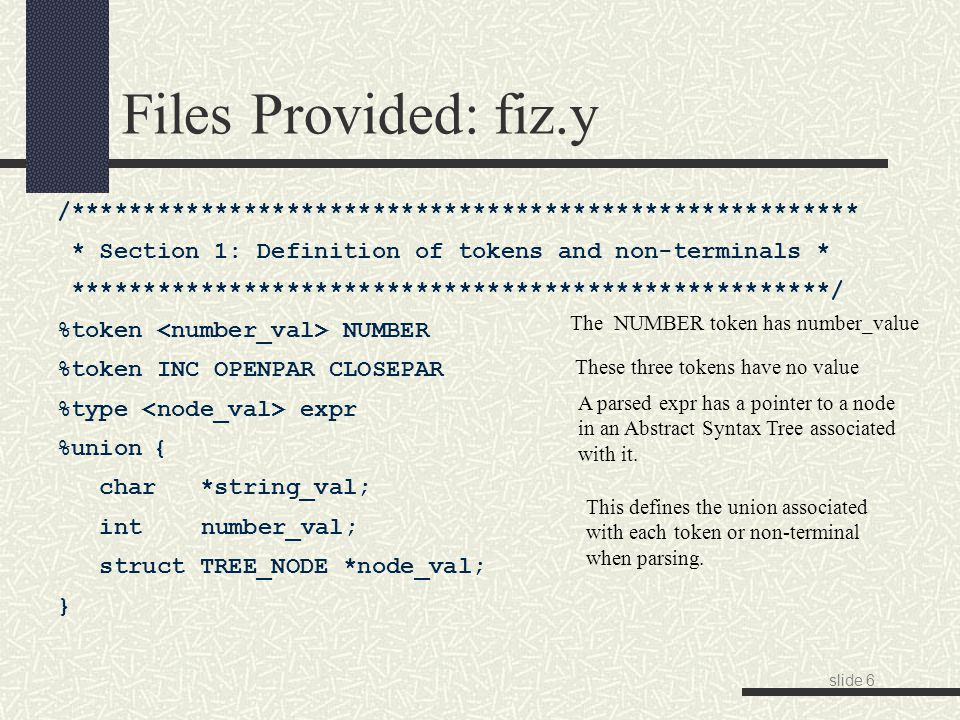 slide 17 RE Syntax in Lex/Flex http://flex.sourceforge.net/manual/Patterns.html '{name}' the expansion of the 'name' definition ' [xyz]\ foo ' the literal string: '[xyz] foo' '(r)' match an 'r'; parentheses are used to override precedence 'rs' the regular expression 'r' followed by the regular expression 's'; called concatenation 'r|s' either an 'r' or an 's' '^r' an 'r', but only at the beginning of a line 'r$' an 'r', but only at the end of a line