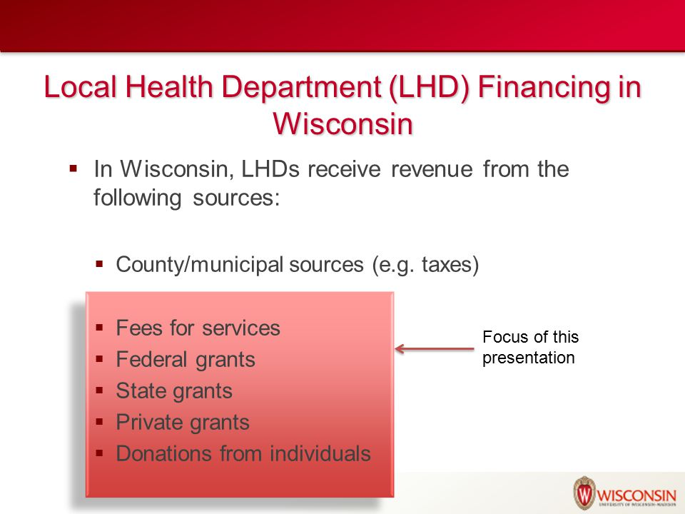 Local Health Department (LHD) Financing in Wisconsin  In Wisconsin, LHDs receive revenue from the following sources:  County/municipal sources (e.g.