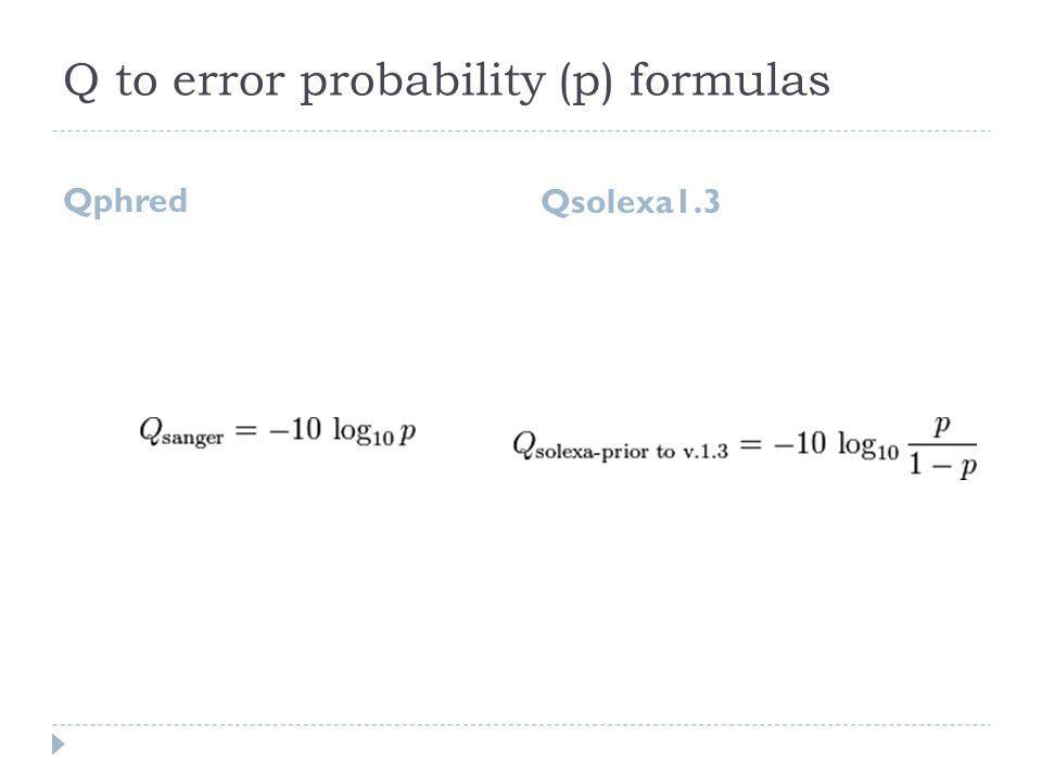 Q to error probability (p) formulas Qphred Qsolexa1.3