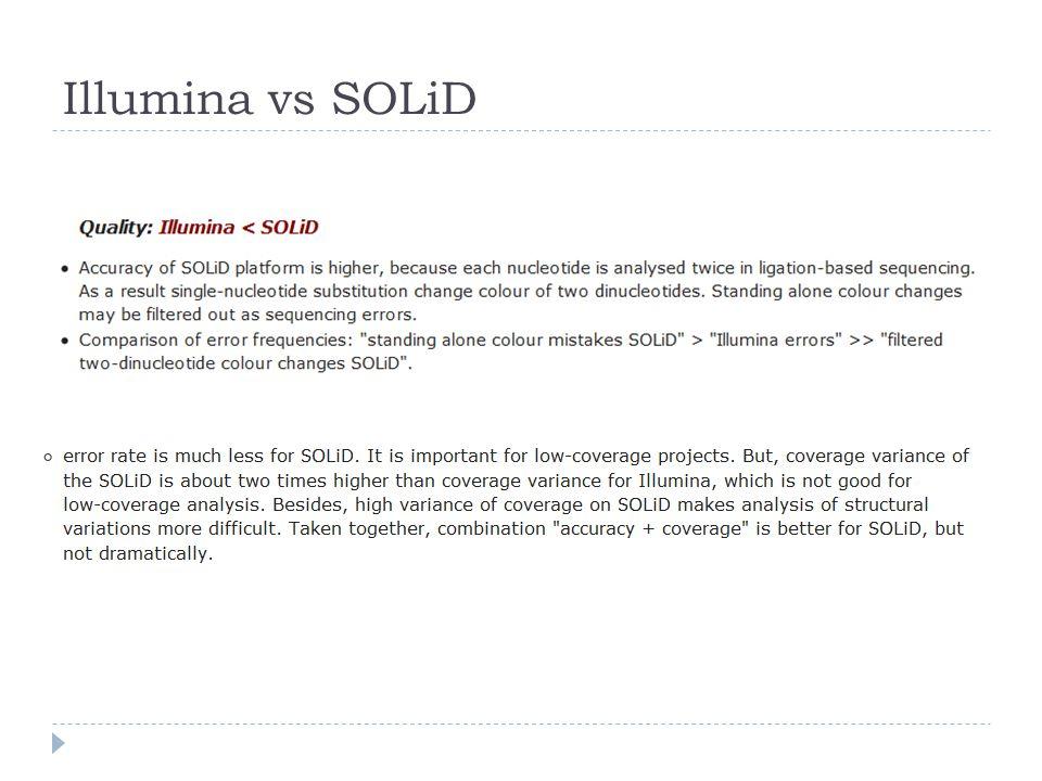 Illumina vs SOLiD