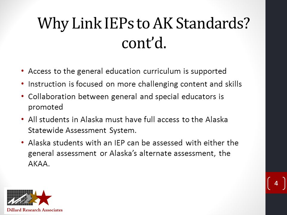 Standards-Based Reform Change the way we think about instruction for special education students (social conception of disability that is strength-based) Raise expectations for student learning Provide access to grade-level content standards Plan, teach, and assess students so that they can participate and make progress in the general education curriculum Ensure that parents continue to be part of this discussion and understand the rationale for change 5
