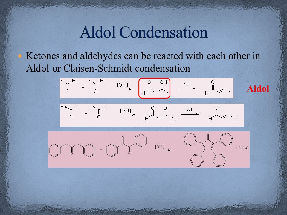 In Chem 14CL, acetone is reacted with two equivalents of benzaldehyde using sodium hydroxide as catalyst The first step is the formation of the first enolate ion Note that water is one of the products in the enolate formation  water has to be excluded from the reaction mixture as much as possible (dry glassware, absolute ethanol) in order to optimize the amount of enolate