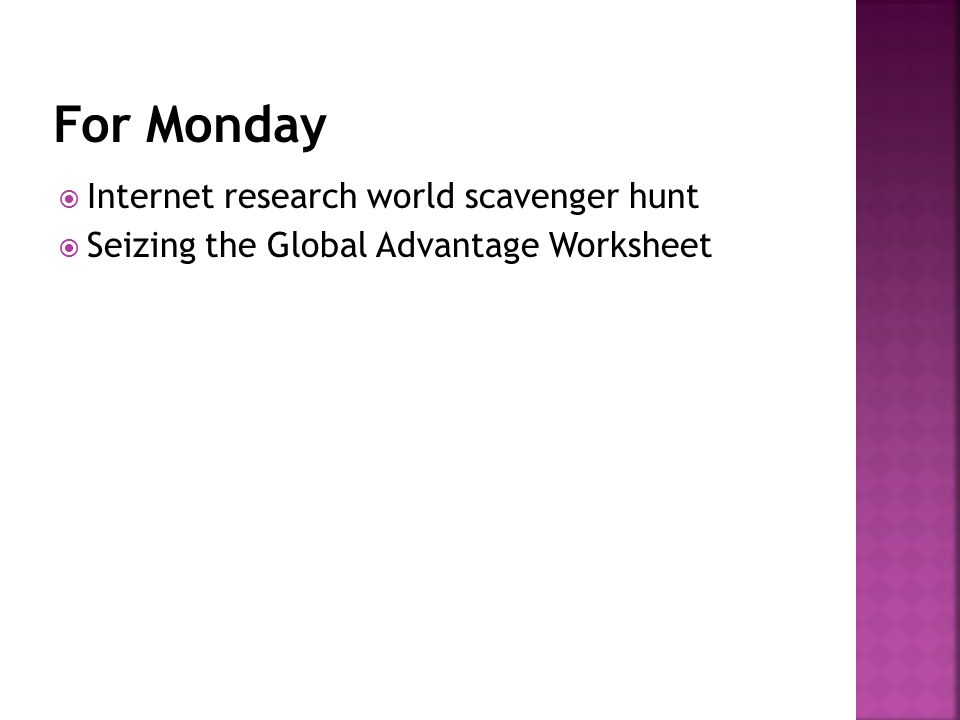  Internet research world scavenger hunt  Seizing the Global Advantage Worksheet