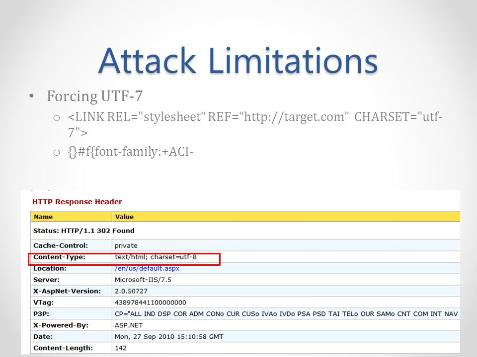 Attack Limitations Forcing UTF-7 o o {}#f{font-family:+ACI-