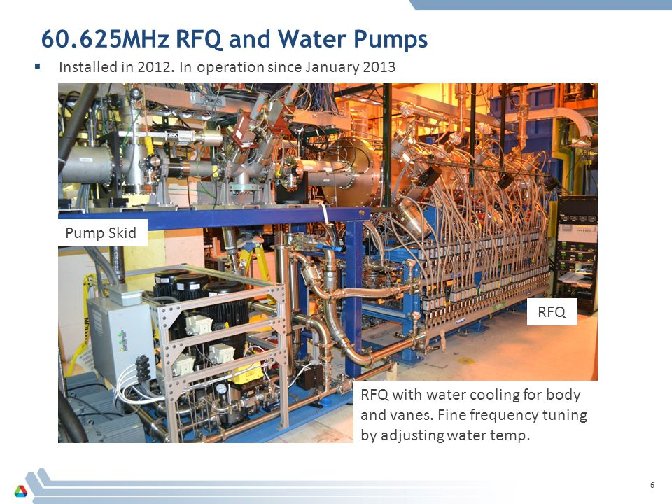 60.625MHz RFQ and Water Pumps  Installed in 2012.