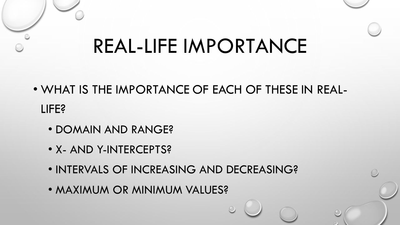 REAL-LIFE IMPORTANCE WHAT IS THE IMPORTANCE OF EACH OF THESE IN REAL- LIFE.