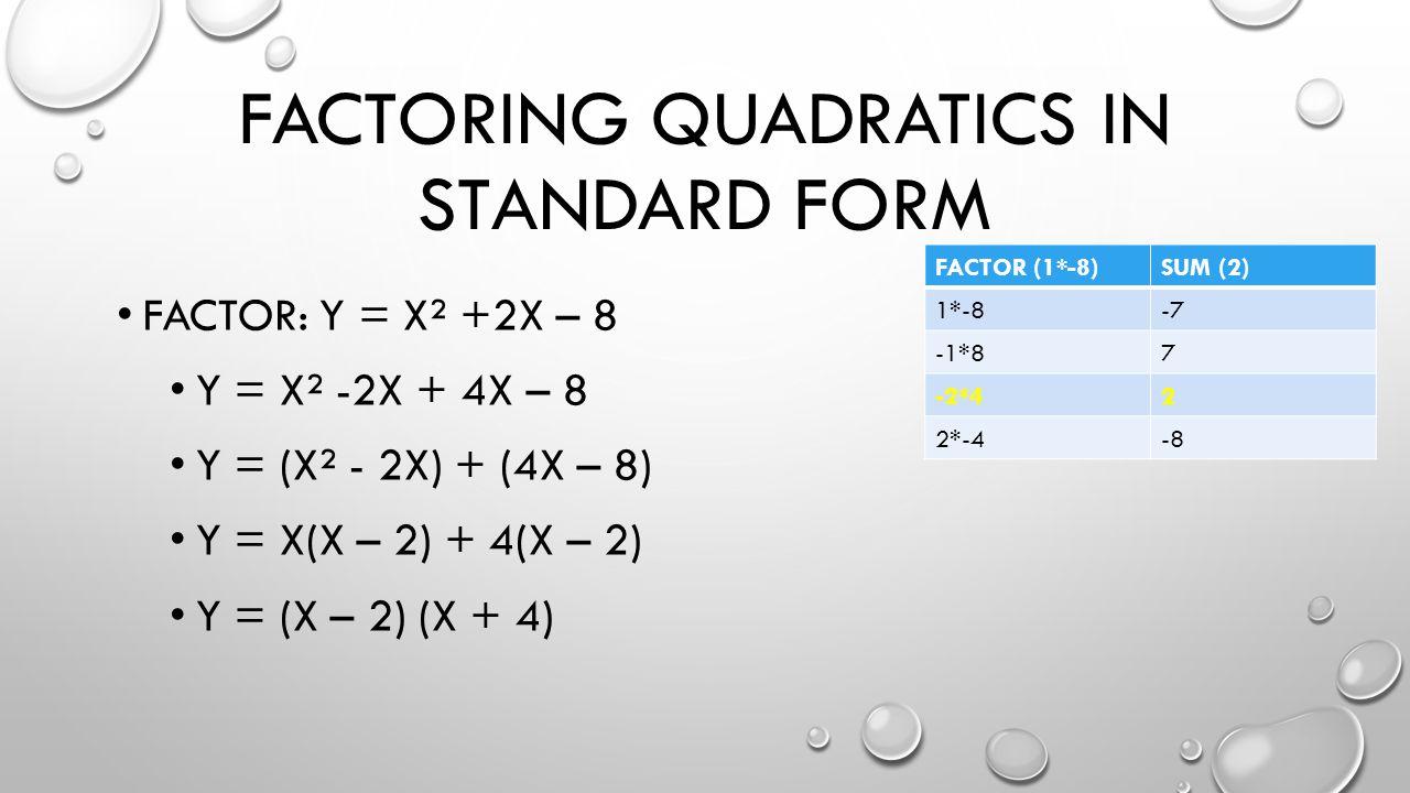 FACTORING QUADRATICS IN STANDARD FORM FACTOR: Y = X² +2X – 8 Y = X² -2X + 4X – 8 Y = (X² - 2X) + (4X – 8) Y = X(X – 2) + 4(X – 2) Y = (X – 2) (X + 4) FACTOR (1*-8)SUM (2) 1*-8-7 -1*87 -2*42 2*-4-8