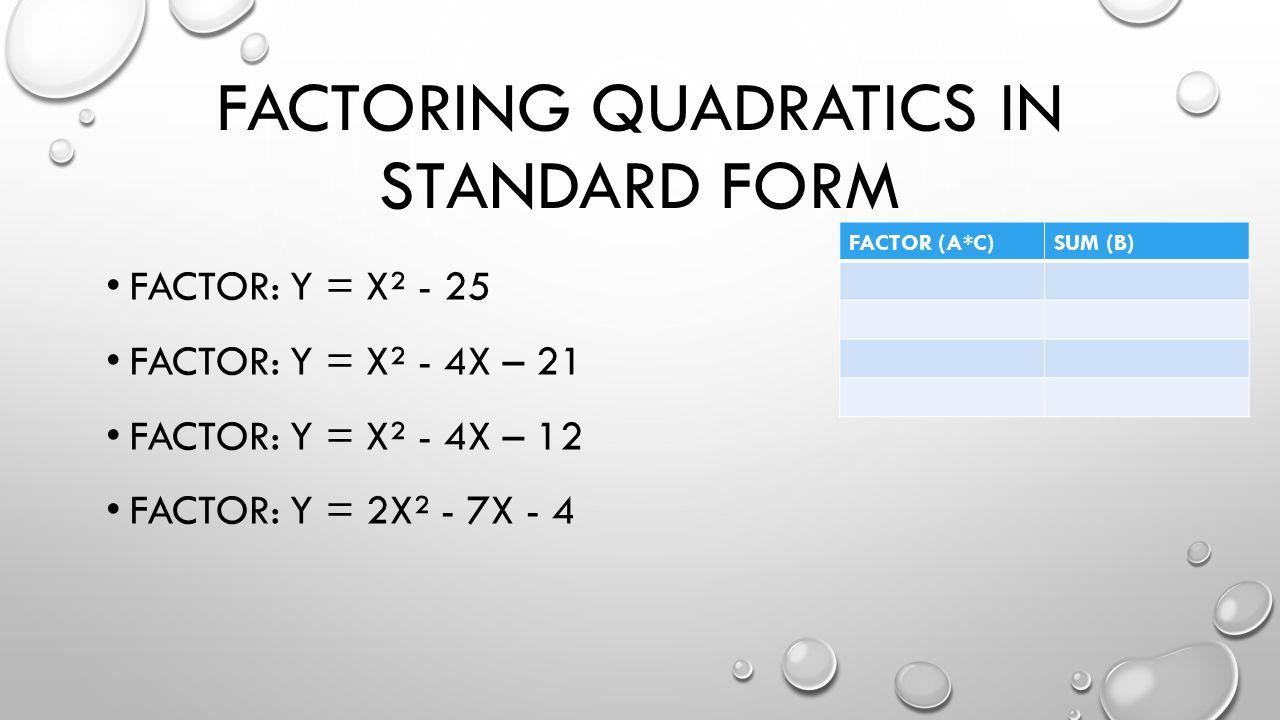 FACTORING QUADRATICS IN STANDARD FORM FACTOR: Y = X² - 25 FACTOR: Y = X² - 4X – 21 FACTOR: Y = X² - 4X – 12 FACTOR: Y = 2X² - 7X - 4 FACTOR (A*C)SUM (B)
