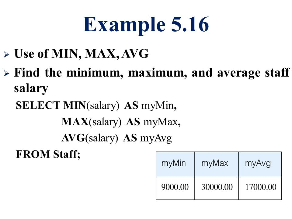 Example 5.16  Use of MIN, MAX, AVG  Find the minimum, maximum, and average staff salary SELECT MIN(salary) AS myMin, MAX(salary) AS myMax, AVG(salar