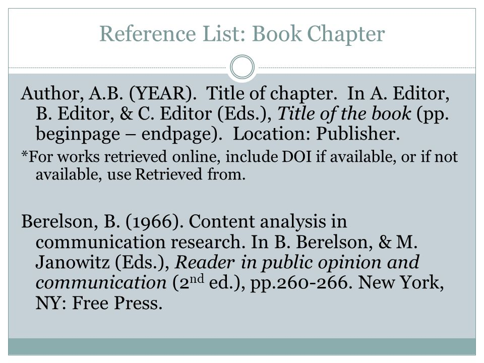 Reference List: Book Chapter Author, A.B. (YEAR).