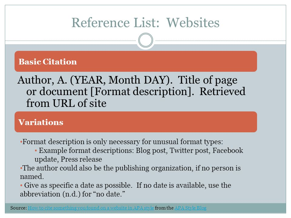 Reference List: Websites Author, A. (YEAR, Month DAY).