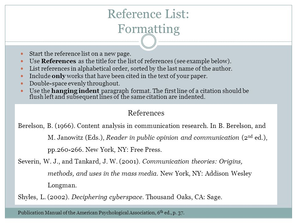 Reference List: Formatting Start the reference list on a new page.