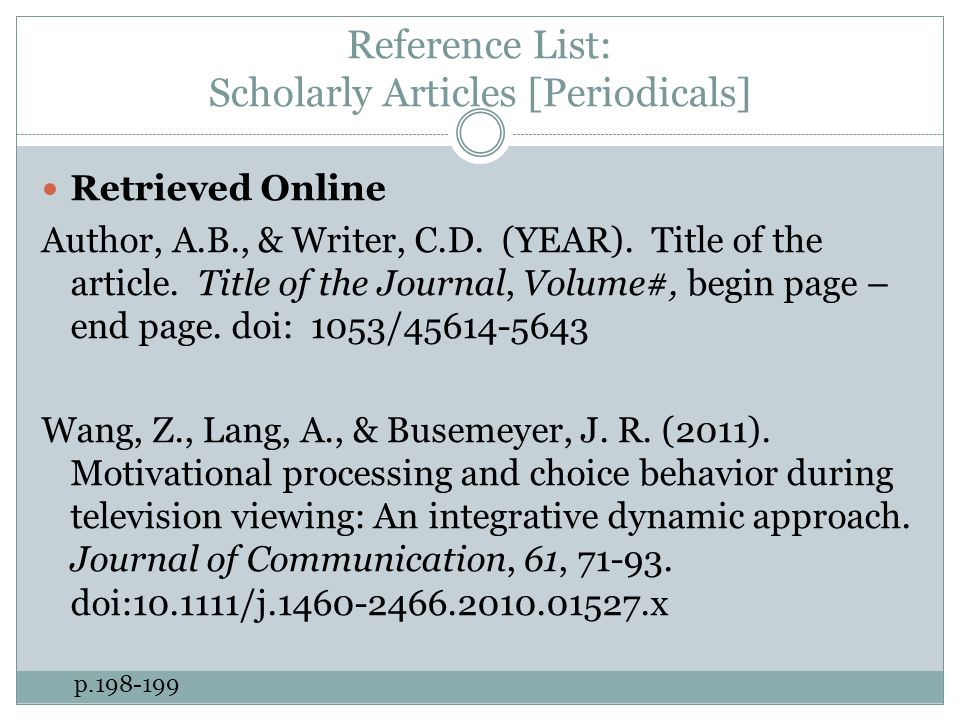 Reference List: Scholarly Articles [Periodicals] Retrieved Online Author, A.B., & Writer, C.D.