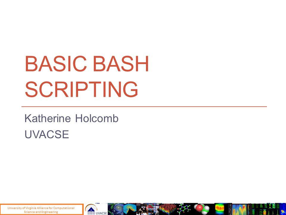 BASIC BASH SCRIPTING Katherine Holcomb UVACSE
