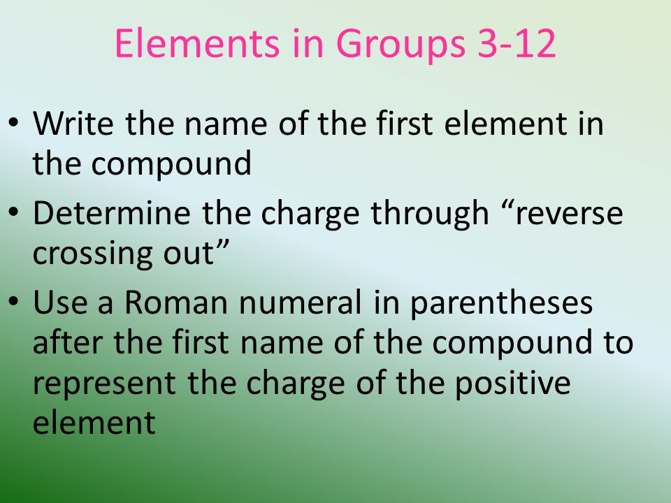 Elements in Groups 3-12 Write the name of the first element in the compound Determine the charge through reverse crossing out Use a Roman numeral in parentheses after the first name of the compound to represent the charge of the positive element