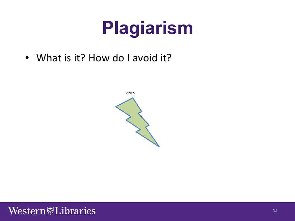 Plagiarism What is it? How do I avoid it? 34 Video