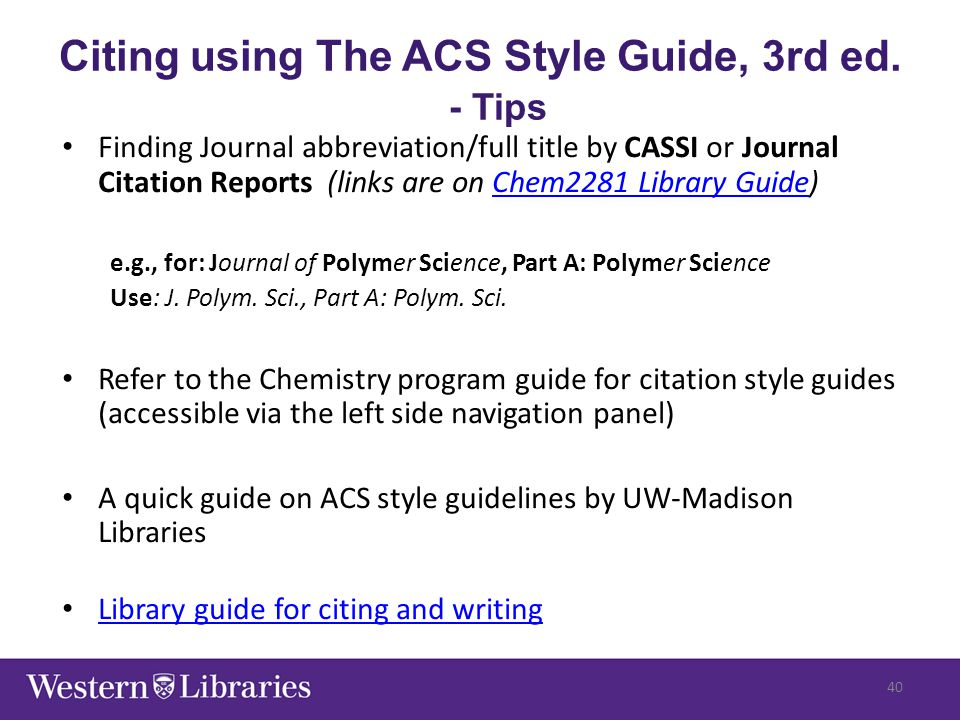 Finding Journal abbreviation/full title by CASSI or Journal Citation Reports (links are on Chem2281 Library Guide)Chem2281 Library Guide e.g., for: Jo