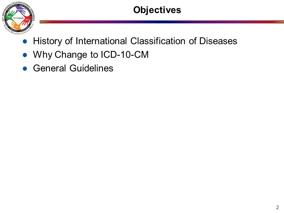 Objectives History of International Classification of Diseases Why Change to ICD-10-CM General Guidelines 2