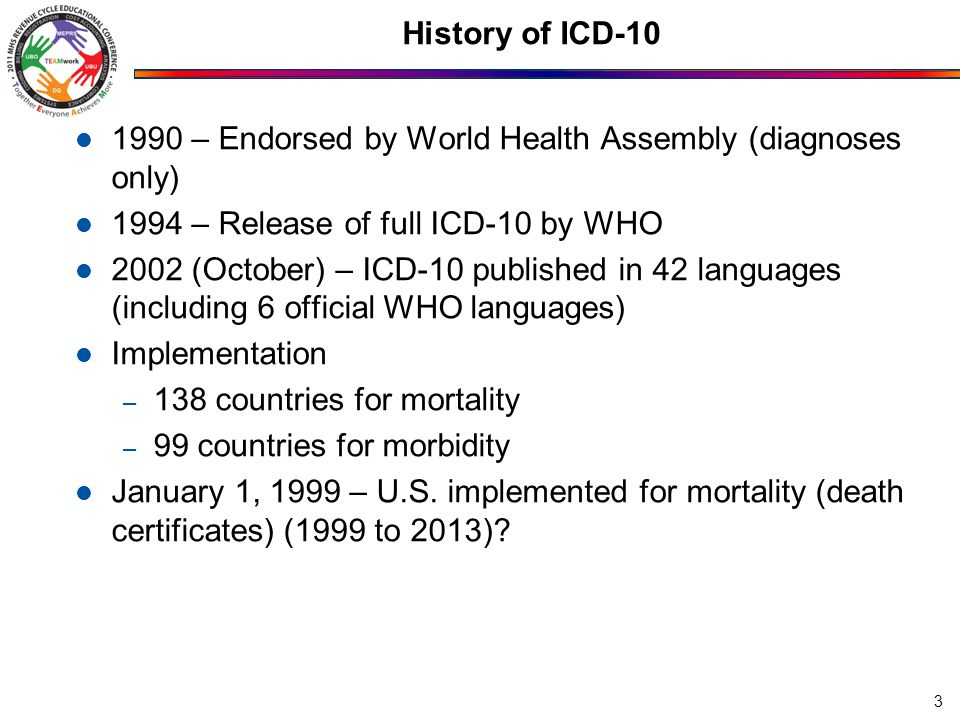 History of ICD-10 1990 – Endorsed by World Health Assembly (diagnoses only) 1994 – Release of full ICD-10 by WHO 2002 (October) – ICD-10 published in 42 languages (including 6 official WHO languages) Implementation – 138 countries for mortality – 99 countries for morbidity January 1, 1999 – U.S.