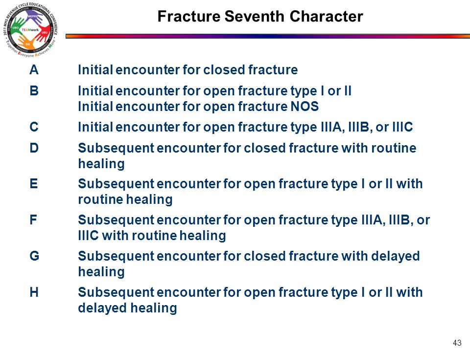 Fracture Seventh Character AInitial encounter for closed fracture BInitial encounter for open fracture type I or II Initial encounter for open fracture NOS CInitial encounter for open fracture type IIIA, IIIB, or IIIC DSubsequent encounter for closed fracture with routine healing ESubsequent encounter for open fracture type I or II with routine healing FSubsequent encounter for open fracture type IIIA, IIIB, or IIIC with routine healing GSubsequent encounter for closed fracture with delayed healing HSubsequent encounter for open fracture type I or II with delayed healing 43