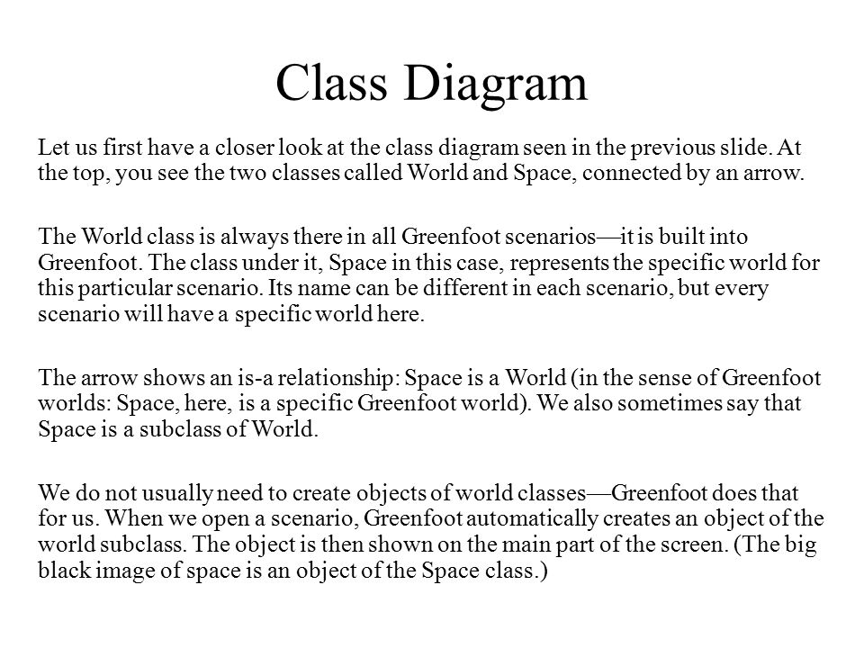 Class Diagram Let us first have a closer look at the class diagram seen in the previous slide. At the top, you see the two classes called World and Sp