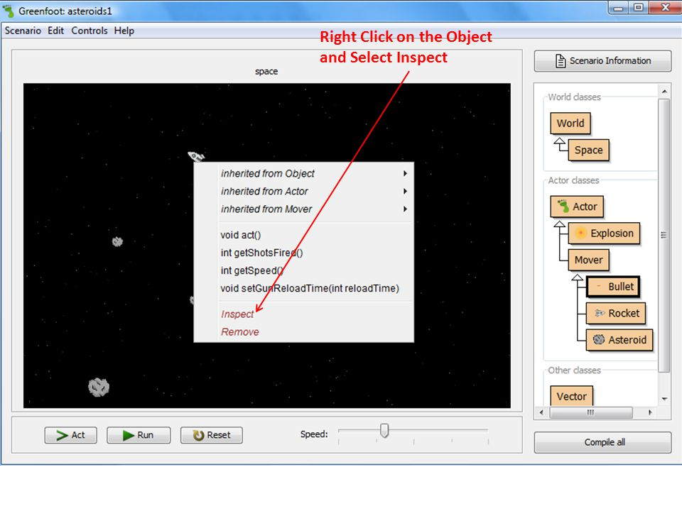 Right Click on the Object and Select Inspect
