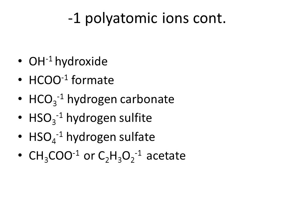 -1 polyatomic ions cont.
