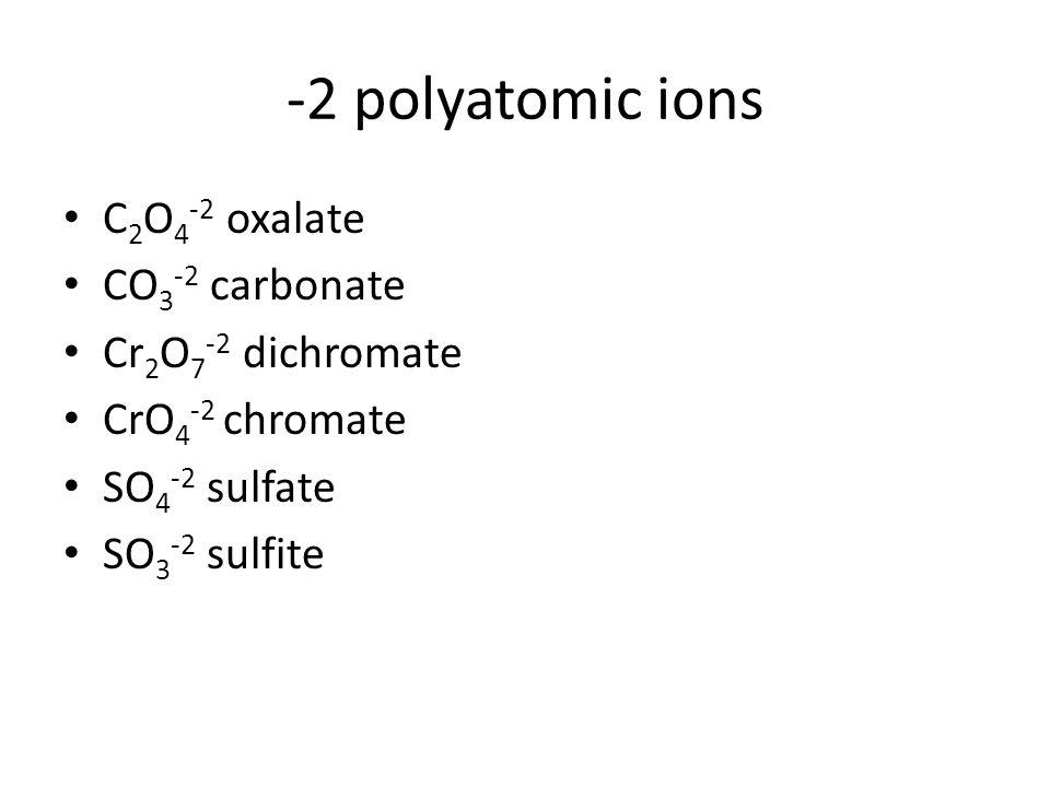-2 polyatomic ions C 2 O 4 -2 oxalate CO 3 -2 carbonate Cr 2 O 7 -2 dichromate CrO 4 -2 chromate SO 4 -2 sulfate SO 3 -2 sulfite