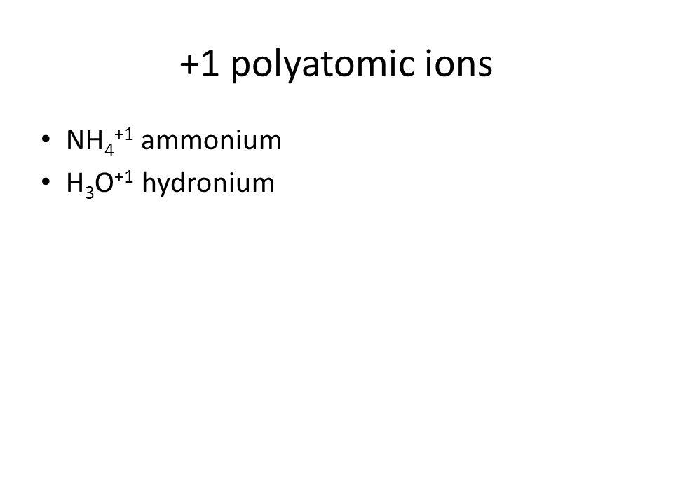 +1 polyatomic ions NH 4 +1 ammonium H 3 O +1 hydronium