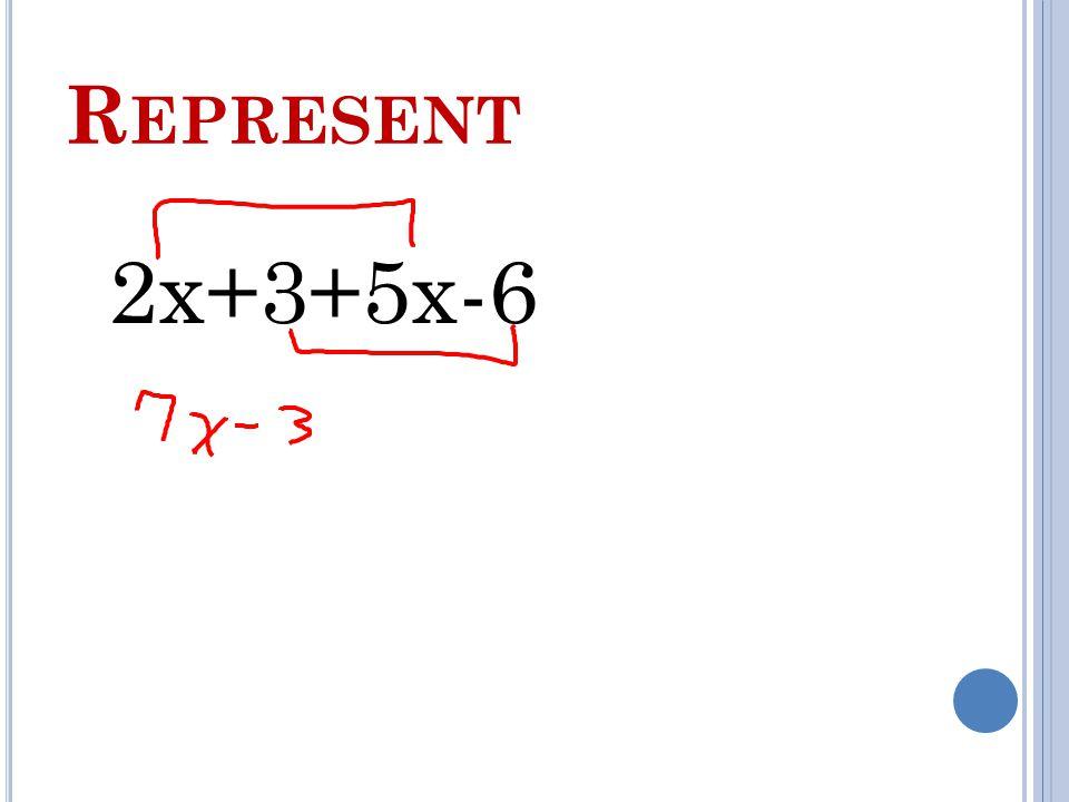 R EPRESENT 2x+3+5x-6
