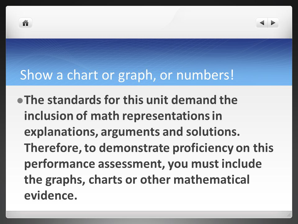 Show a chart or graph, or numbers.