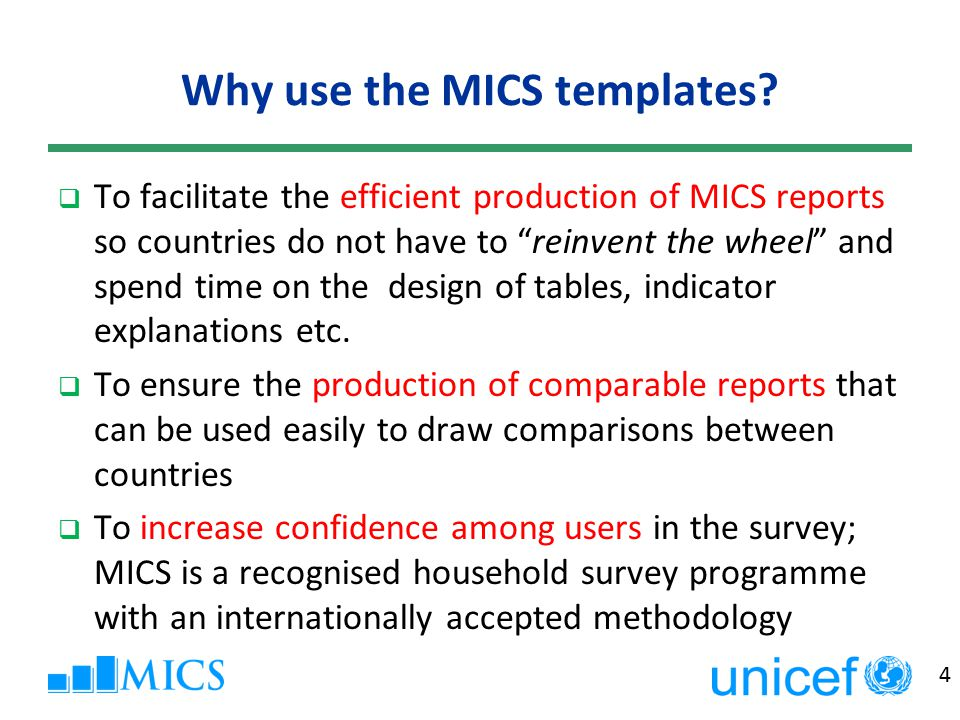 5 The Global MICS Report Review Process StepAction Step 1Datasets and tables are technically reviewed by Global MICS Team Step 2Based on templates, first draft of report(s) generated at the country level (and here) Step 3Draft report are technically reviewed by Regional office and Global MICS Team Step 4Finalization of reports at country level