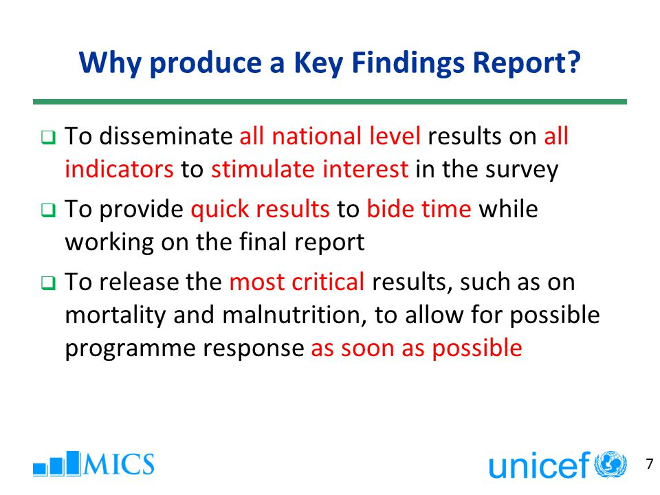8 What is in the Key Findings Report.