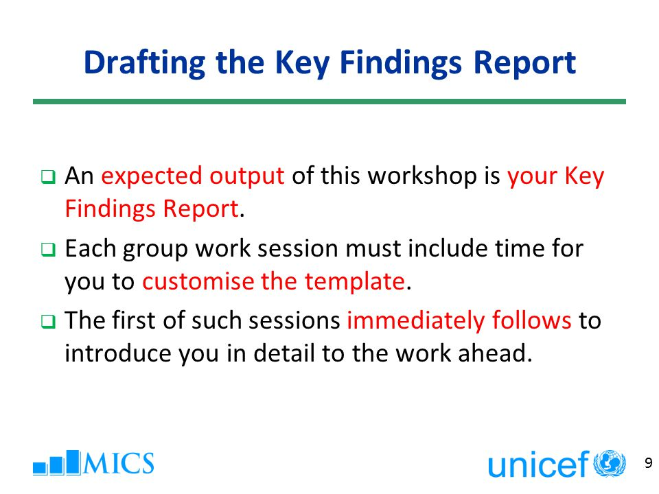 9 Drafting the Key Findings Report  An expected output of this workshop is your Key Findings Report.