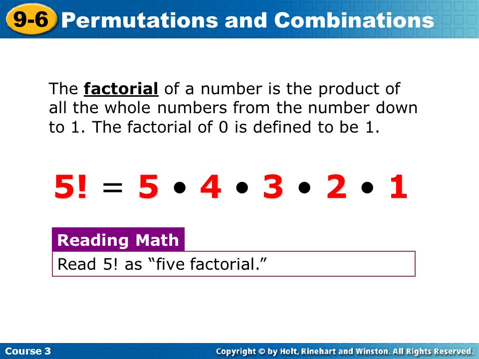 Try This: Example 3B Continued Course 3 9-6 Permutations and Combinations There are 12 combinations.