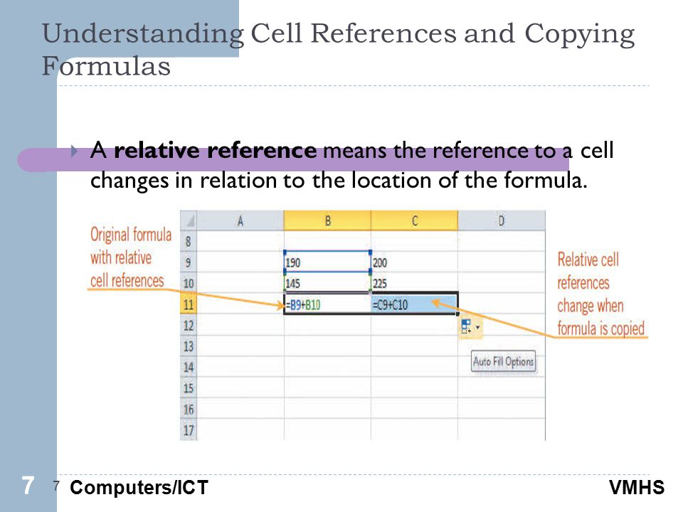 Computers/ICTVMHS Understanding Cell References and Copying Formulas 7  A relative reference means the reference to a cell changes in relation to the