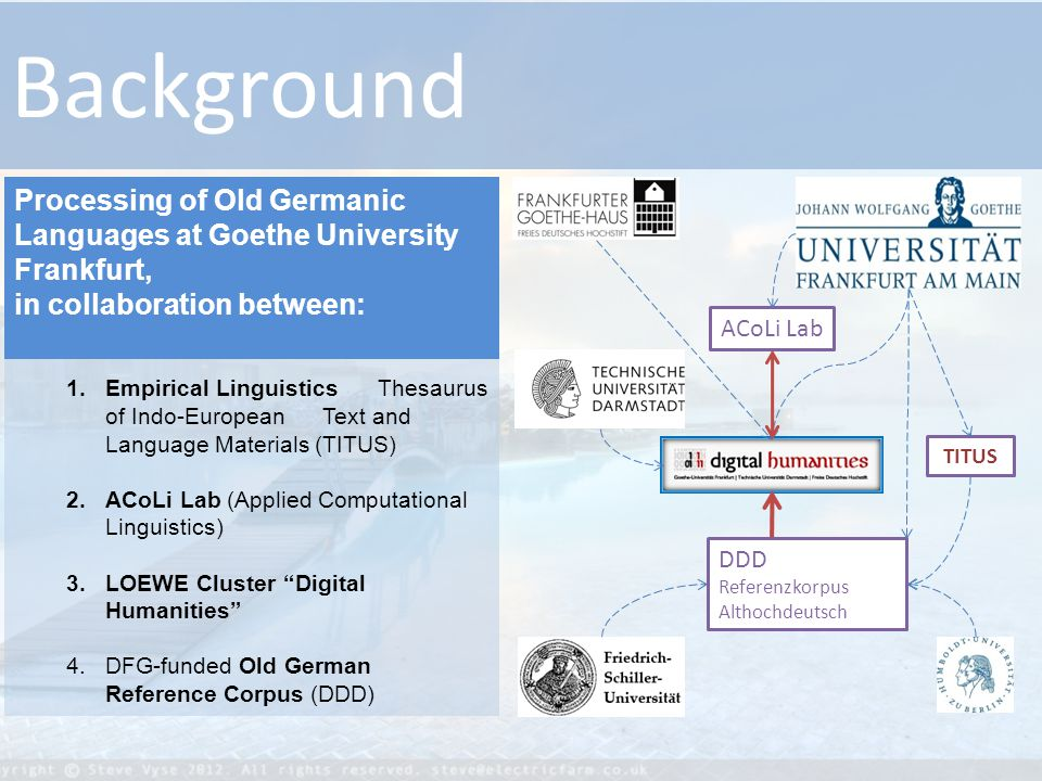 ACoLi Lab TITUS DDD Referenzkorpus Althochdeutsch Background 1.Empirical Linguistics Thesaurus of Indo-European Text and Language Materials (TITUS) 2.