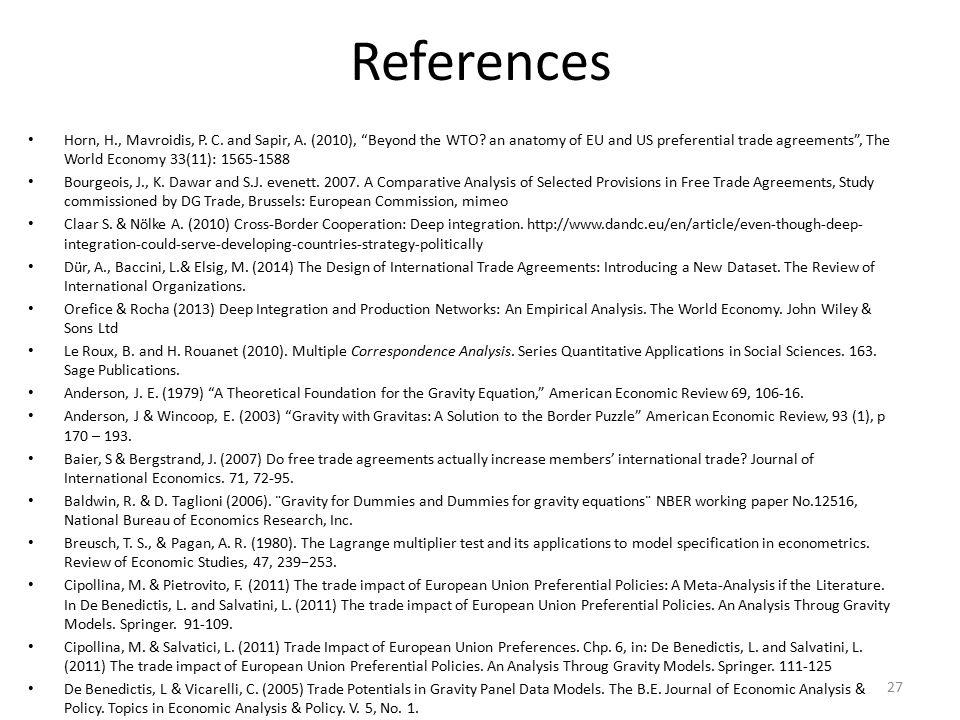 References Horn, H., Mavroidis, P. C. and Sapir, A.