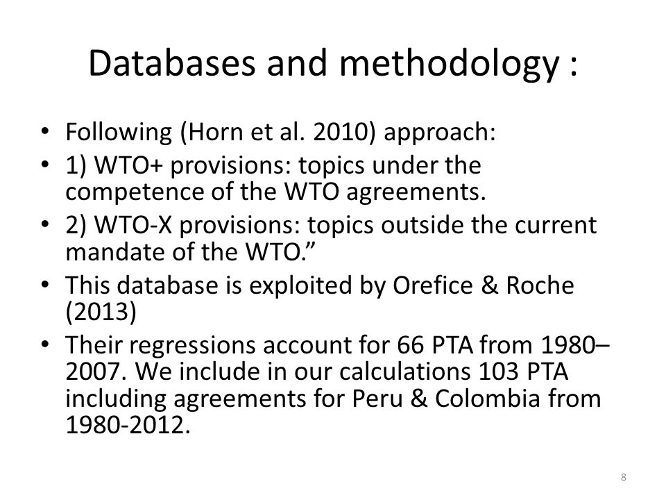 Databases and methodology : Following (Horn et al.
