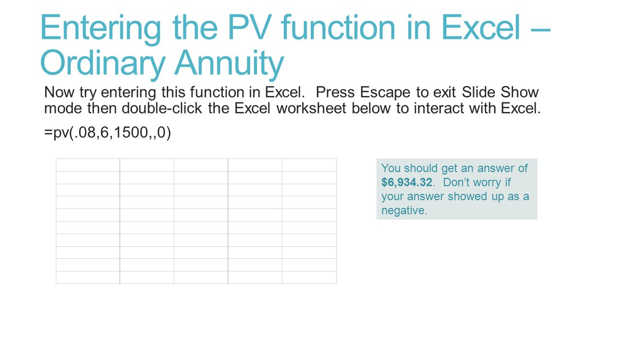 Entering the PV function in Excel – Ordinary Annuity Now try entering this function in Excel.