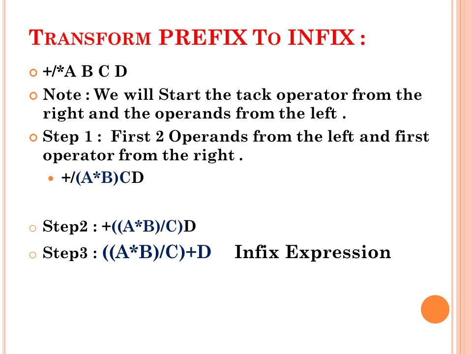 +/*A B C D Note : We will Start the tack operator from the right and the operands from the left.