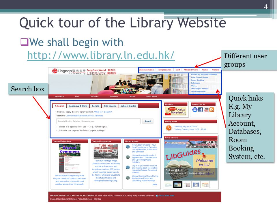 Quick tour of the Library Website  We shall begin with http://www.library.ln.edu.hk/ http://www.library.ln.edu.hk/ Quick links E.g.