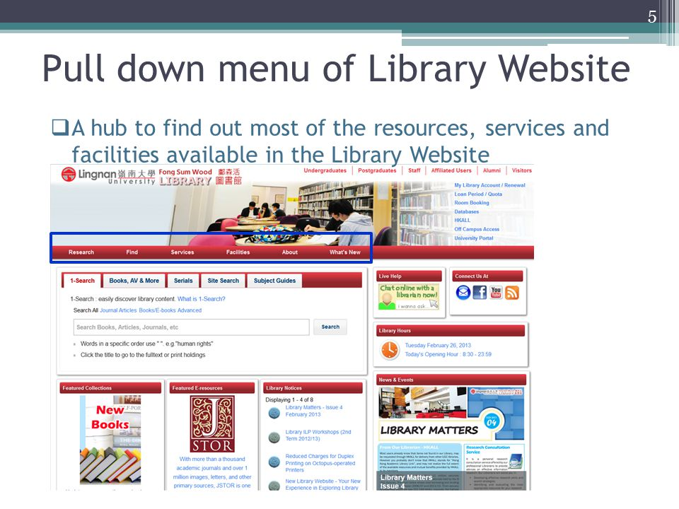 Pull down menu of Library Website  A hub to find out most of the resources, services and facilities available in the Library Website 5