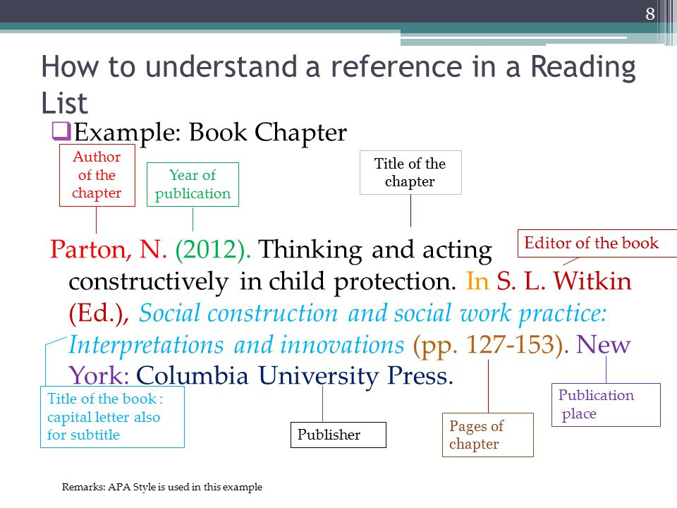 Example: Book Chapter Parton, N. (2012). Thinking and acting constructively in child protection.