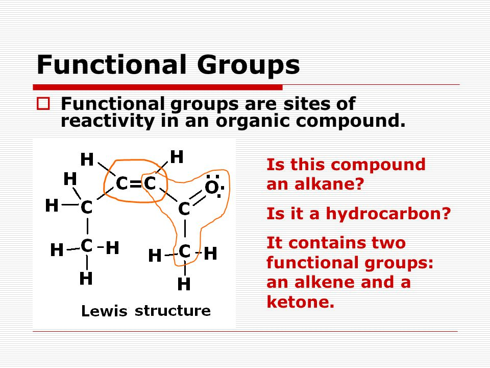 Functional Groups Is this compound an alkane. Is it a hydrocarbon.