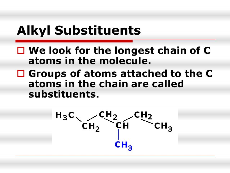 Alkyl Substituents  We look for the longest chain of C atoms in the molecule.