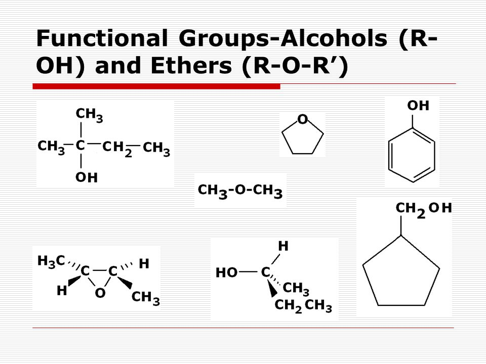 Functional Groups-Alcohols (R- OH) and Ethers (R-O-R')