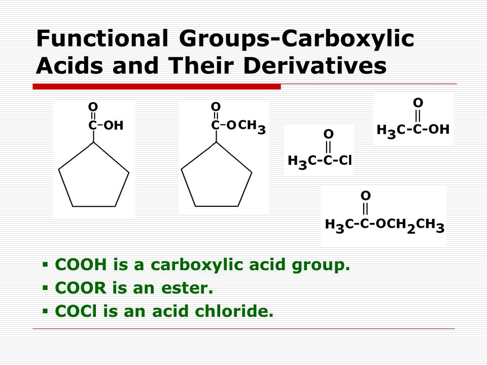 Functional Groups-Carboxylic Acids and Their Derivatives  COOH is a carboxylic acid group.